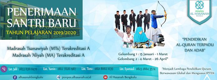 Pendaftaran Santri Baru Pesantren Al Hasanah TA. 2019/2020